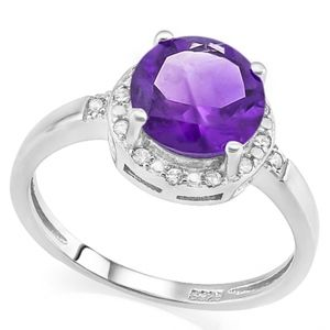 Ring 1.80 Ct Amethyst & Diamond 925 Silver